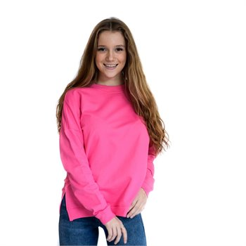 NOISY MAY - lucky l/s sweat Medium rose neon